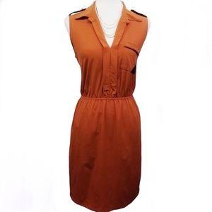 PAPER DOLL Shirt Dress Sleeveless Orange